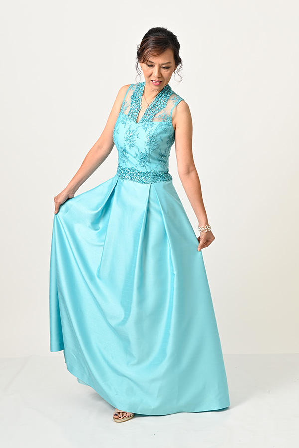 Tuquoise beaded shuntung silk Evening gown