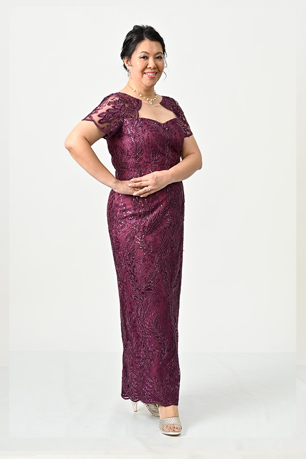 Plum metallic tulle unique Plus-size Mother's Evening Gown