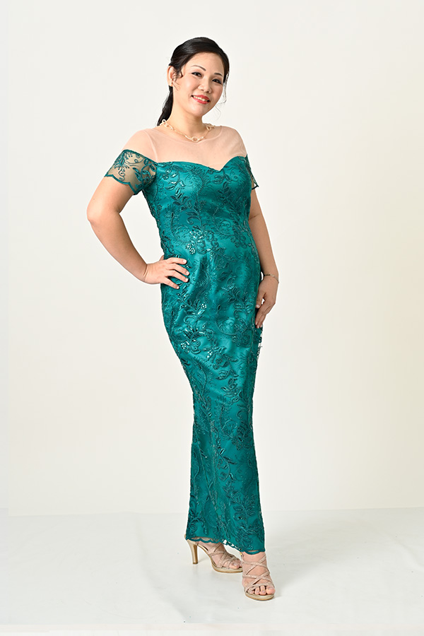 Green Sequin tulle Off-shoulder Plus-size Evening-Gown