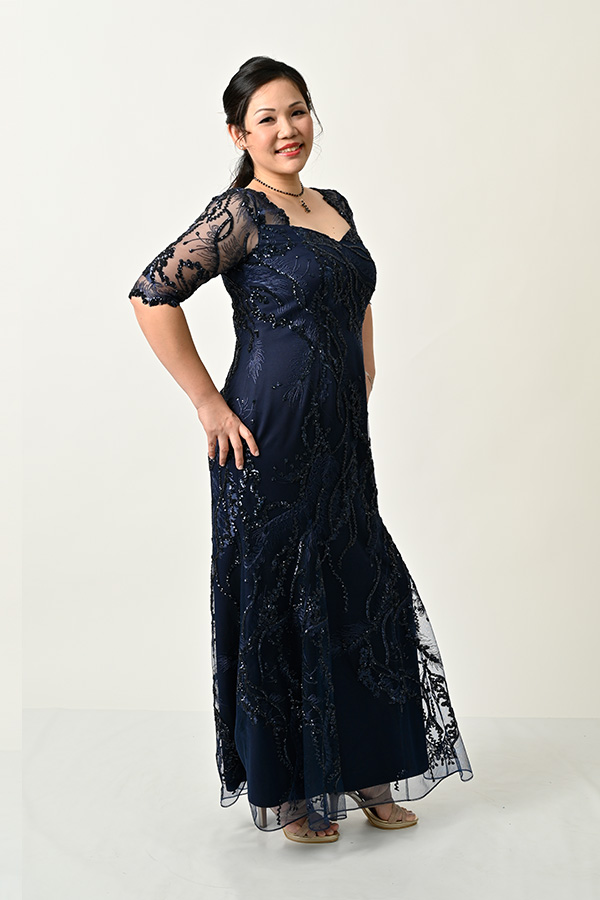 Mid-night-blue sequin tulle Plus-size Evening Gown with sleeve