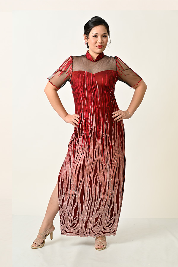 Marroon Embriodery Tulle Plus-size Modern-Mother's-cheongsam