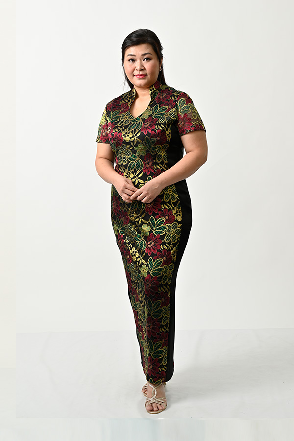 Gold flowery lace illusion look Plus-size-Mother's Cheongsam