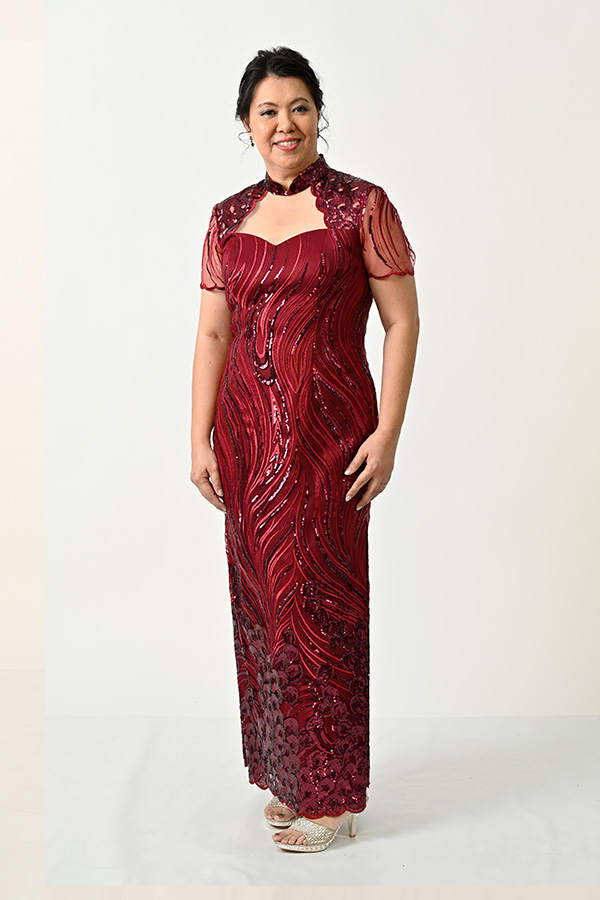 Marroon Sequin Tulle Plus-size Modern-Mother's-Cheongsam