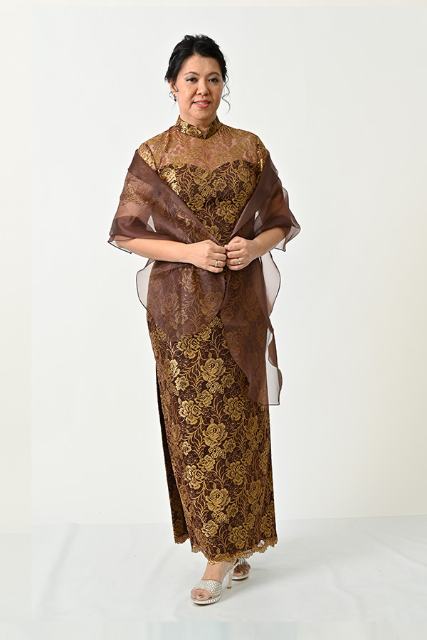 Gold metallic lace-Mother's-Plus-size Cheongsam