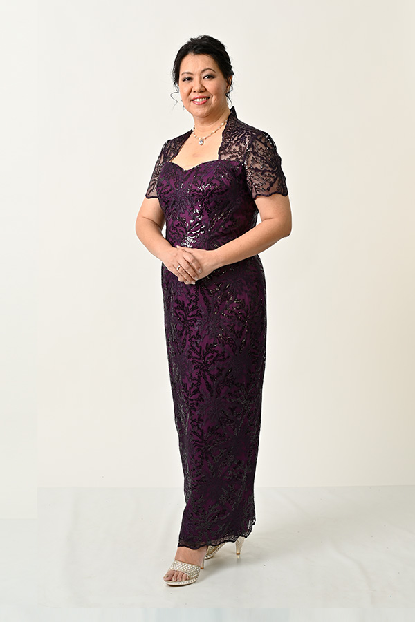 Purple Sequin Plus-size Mother's Evening Gown