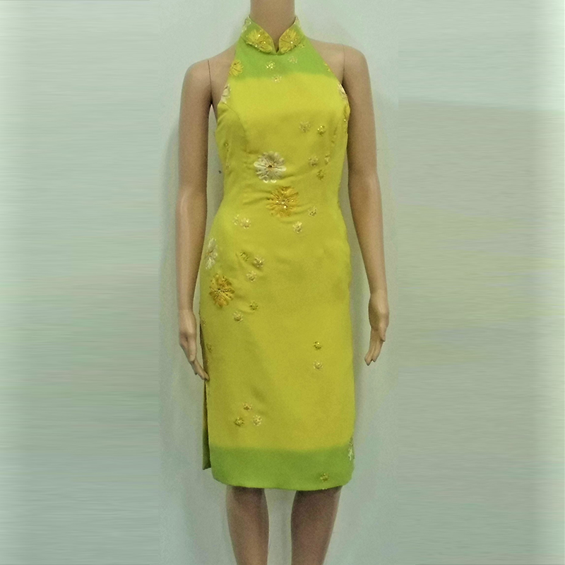 Yellow Green cut in modern cheongsam
