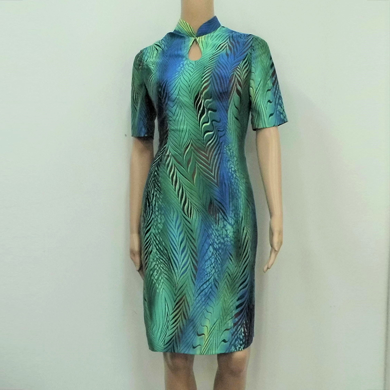 Turquoise blue abstract print sleeve Cheongsam