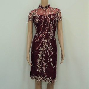 Maroon with gold embriodery cocktail cheongsam