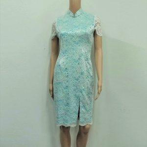 White turquoise lace Cheongsam