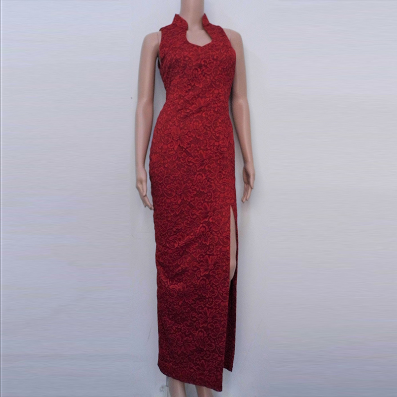 Red-lace modern Cheongsam Front Side Slits