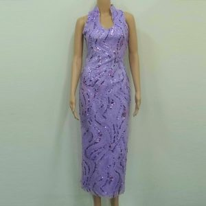Lilac sequins open collar modern cheongsam mother