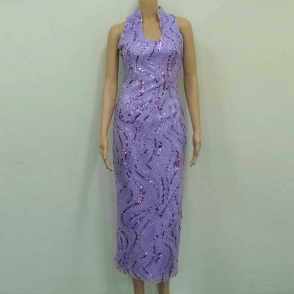 Lilac sequins open collar modern cheongsam mother