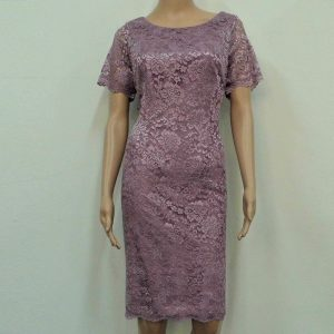 Dusty pink Japanese Lace boat neck mother dress