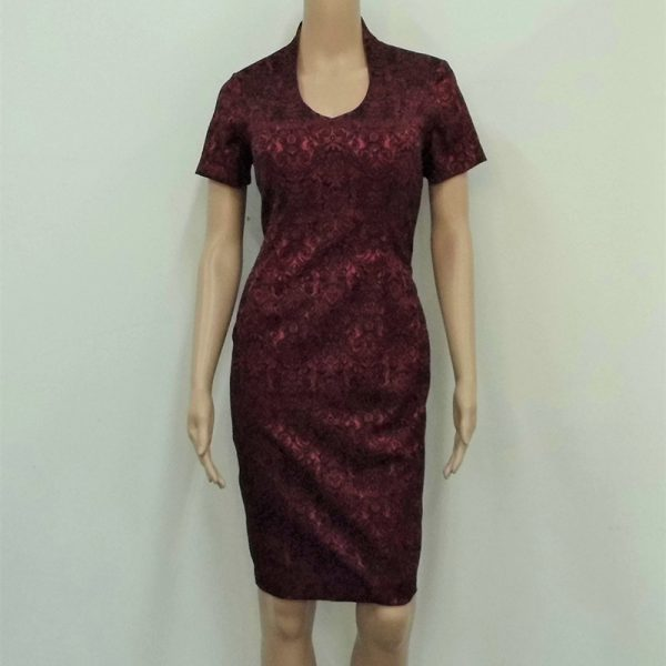 Maroon with black short sleeve dress mother