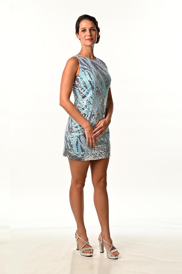 Skyblue Sequins Mini Dress