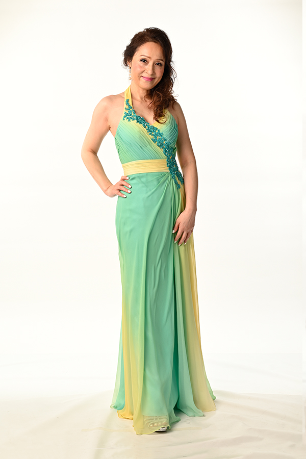 Silk Gradient colour halter gown with applique