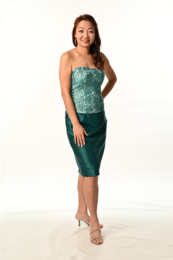 Green Lace Asymmetric Bustier Corset Top Green Shuntung Silk Pencil Skirt with Back Overlap Slit