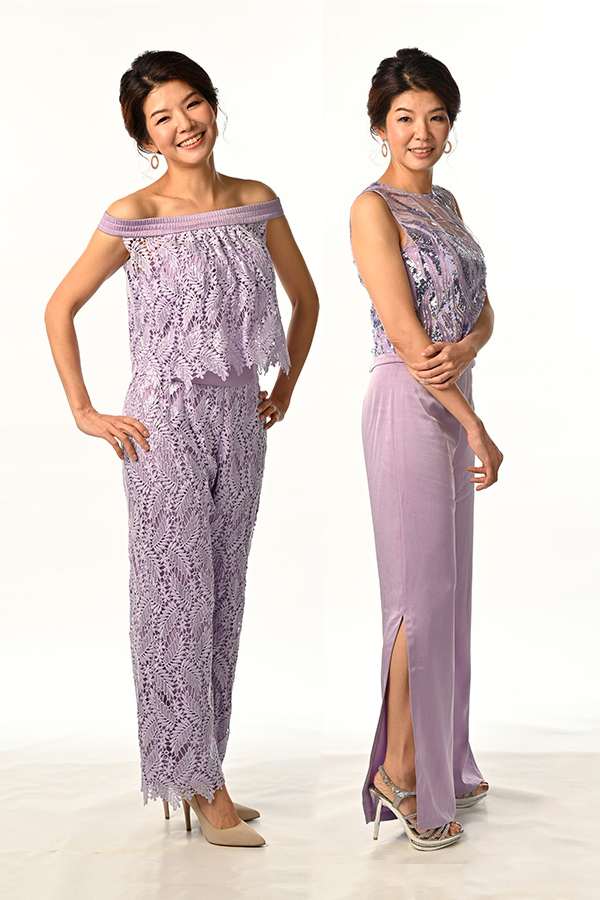 Lavender guipure Lace see-through Off-shoulder Top Lavender Guipure Sequins Lace Pants with satin lining