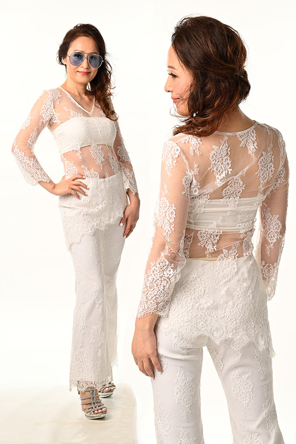 White French Lace see-through Boatneck Blouse White French Lace Pants with Lining