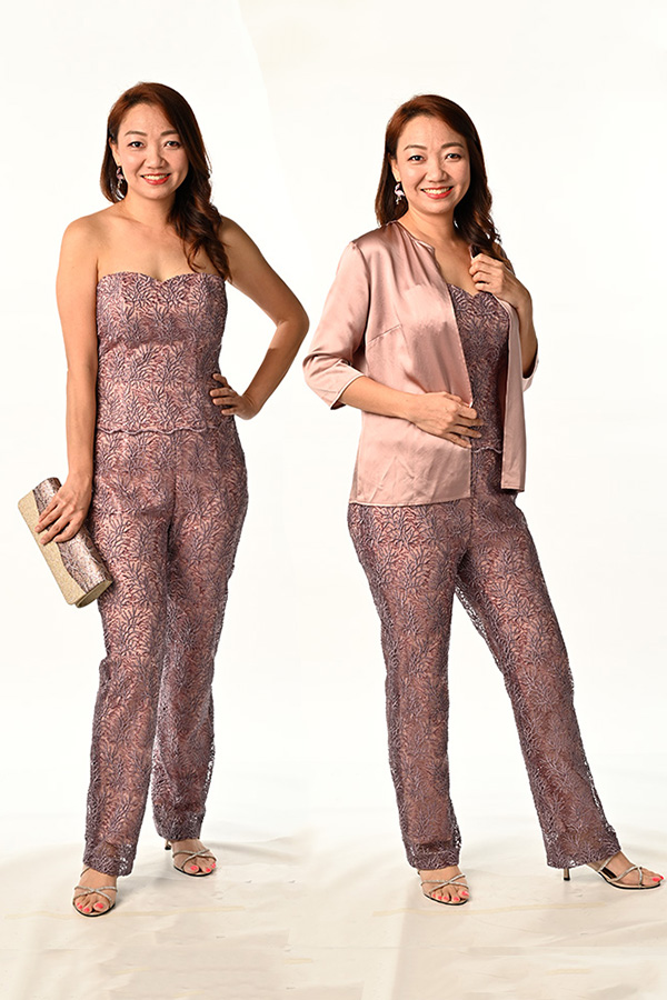 RosyBrown Guipure Sequins Lace Bustier Top & Pants Tan colour Silk Coaty with 3/4 sleeve
