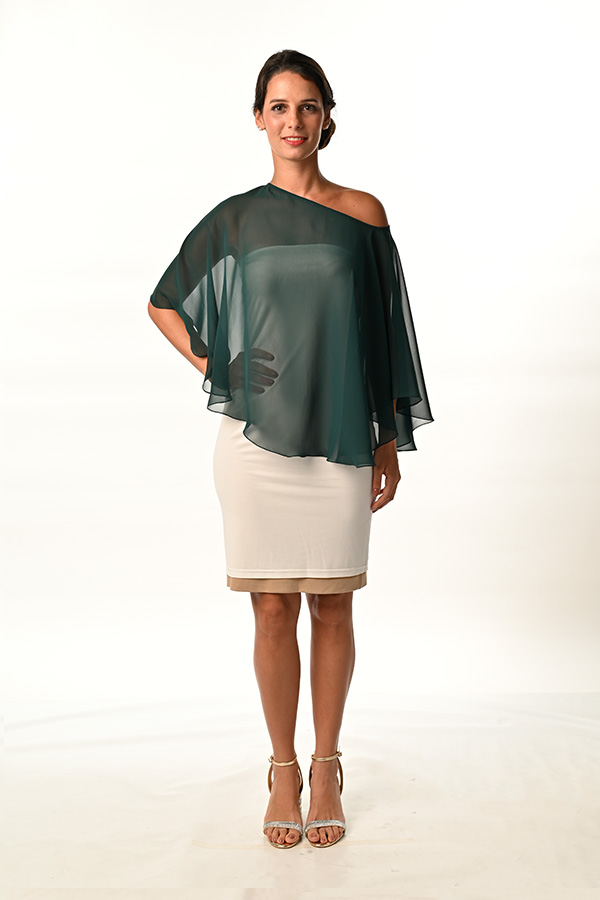 Green Georgette See-through Boat Neck top