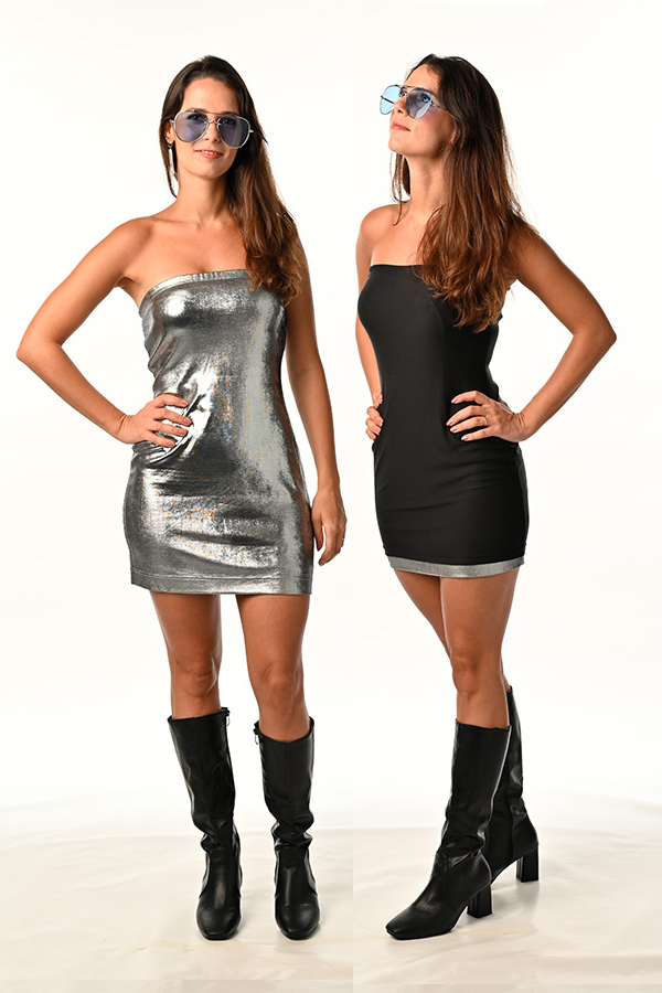 Silver Metallic Foil Spandex with Black Modal Double-Side Colour Reversible Dress