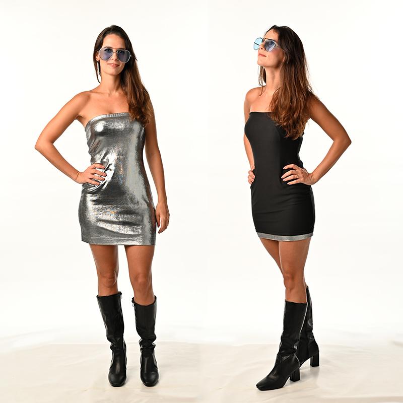 Silver Metallic Foil Spandex with Black Modal, Double-Side Colour Reversible Dress