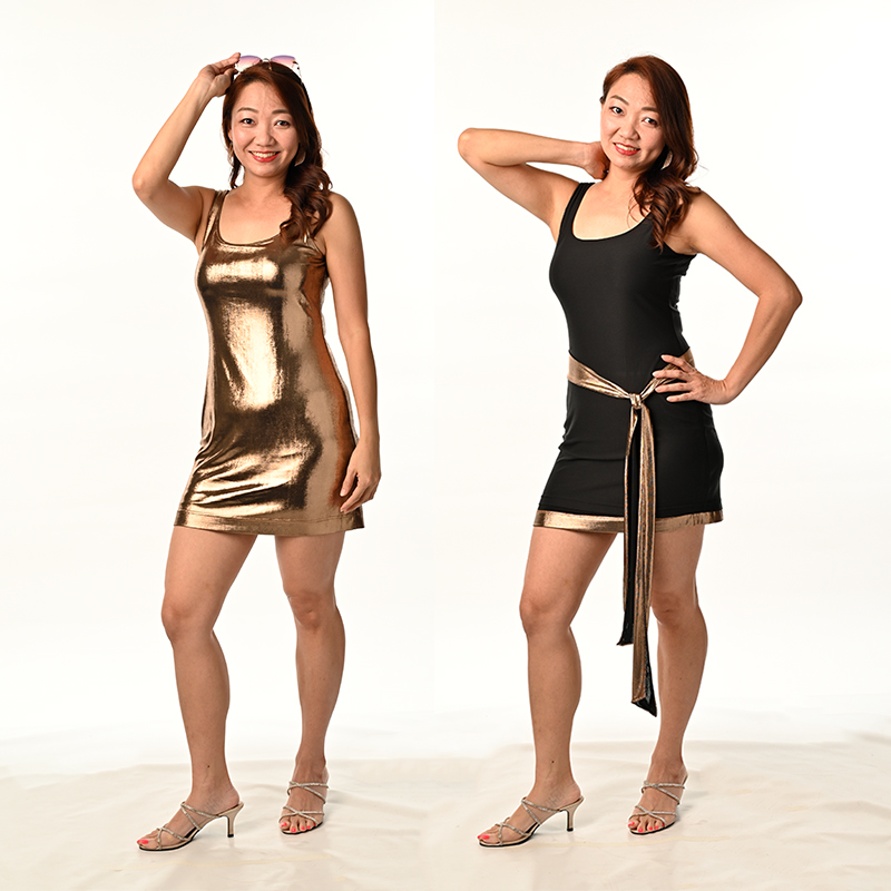 Gold Metallic Foil Spandex with Black Modal