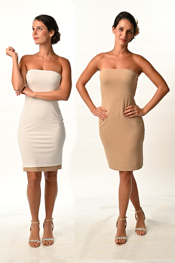 Beige & Ivory Modal Knit Tube Dress Double-Side Colour Reversible Dress