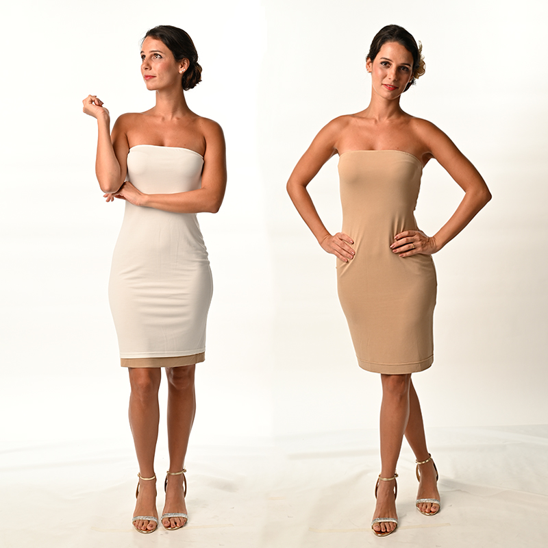 Beige & Ivory Modal Knit Tube Dress, Double-Side Colour Reversible Dress
