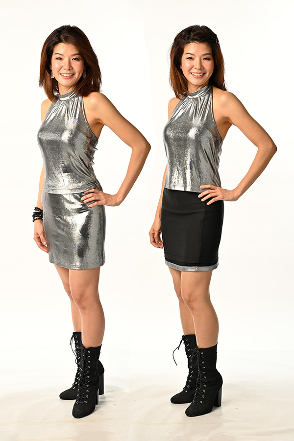 Silver Metallic Foil Spandex with Black Modal Double-Side Silver & Black Reversible Mini Skirt