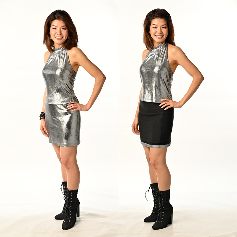 Silver Metallic Foil Spandex with Black Modal, Double-Side Silver & Black Reversible Mini Skirt