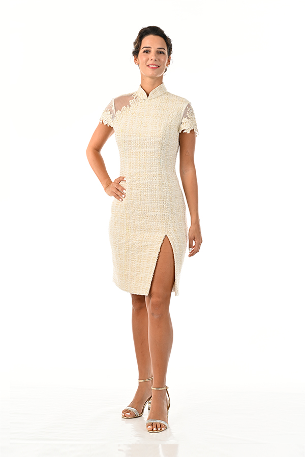 Woollen checkers lace toga modern cheongsam