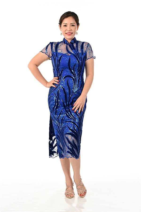 Royal Blue sequin tulle Midi Cheongsam