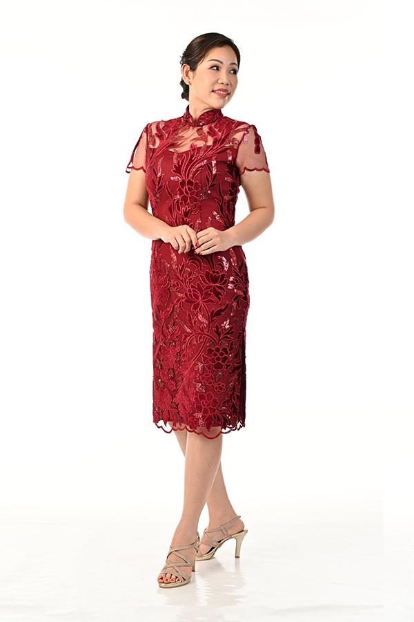 Marroon Velvet Tulle sequin Cocktail Cheongsam Zion Creation