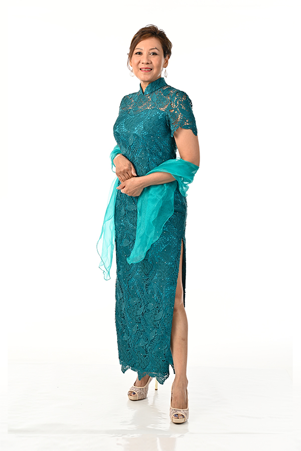 Teal Green Guipure Lace Mother-of-bride modern Cheongsam Singapore
