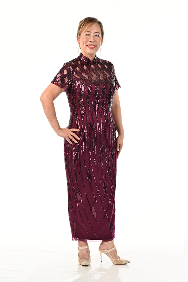 Mother's plus size sequin tulle cheongsam