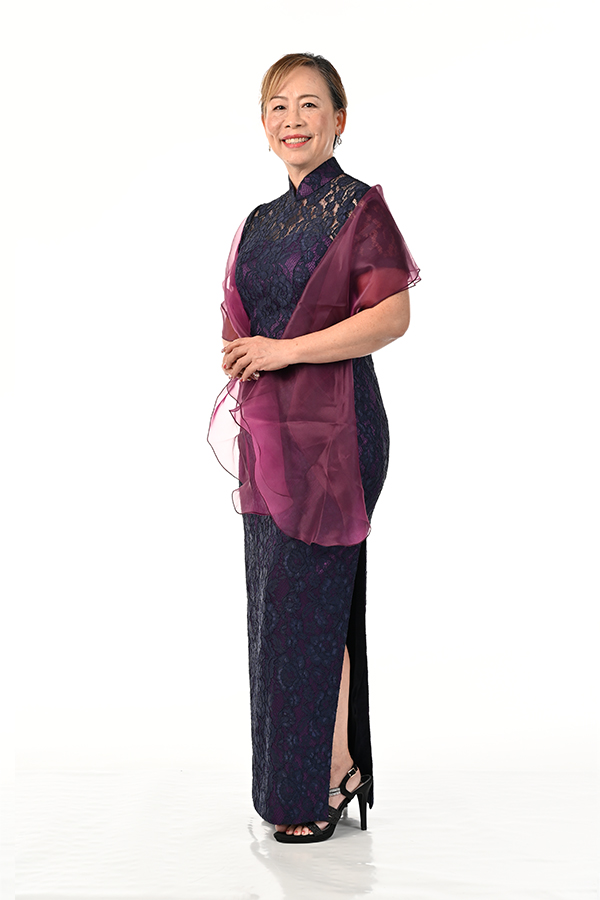 Navy blue cord lace Mothers Cheongsam