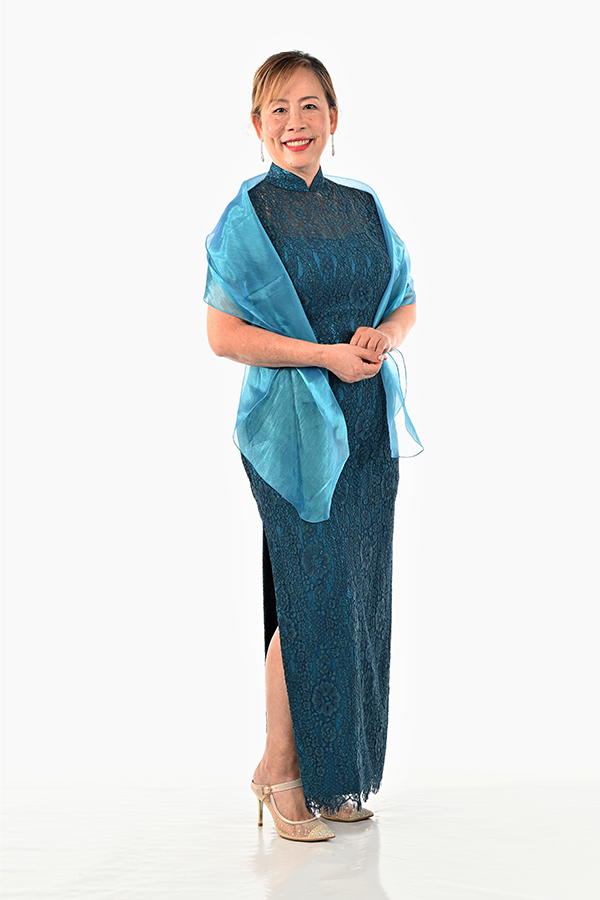 Teal lace Mother-of-bride cheongsam